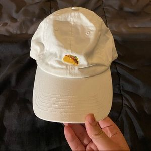 White Dad Cap With Taco graphic